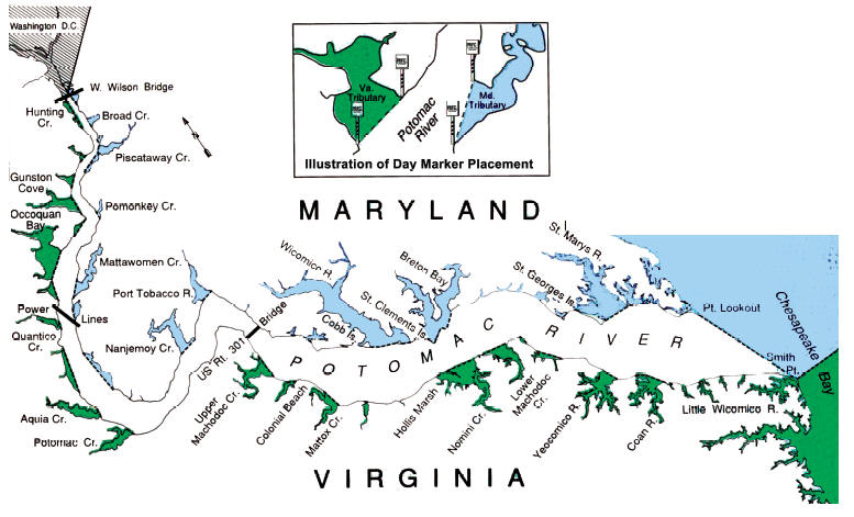 map showing the the VA and MD areas